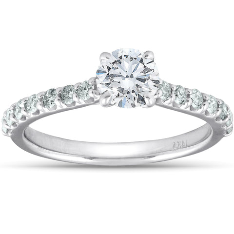 1 1/4 Ct TDW Round Real Diamond Engagement Ring With Side Stones 14k White Gold