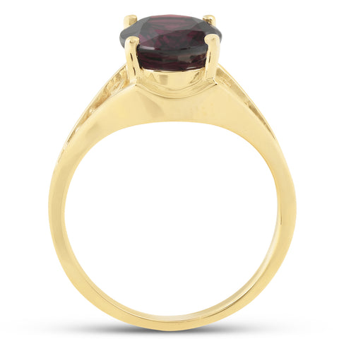 Genuine 10x8 MM Oval Garnet Solitaire Ring 14k Yellow Gold