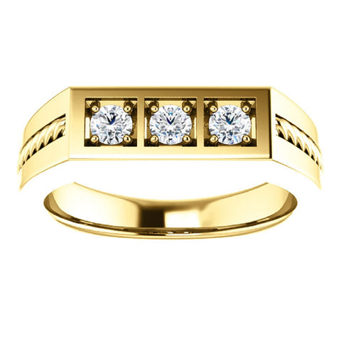 10k Yellow Gold  .60Ct 3-Stone Mens Braided Heavy Weight Ring Wedding Band
