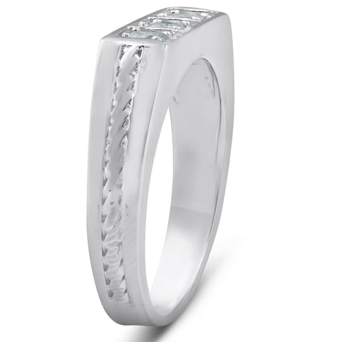 10k White Gold 5/8 Ct 3-Stone Mens Braided Heavy Weight Ring Wedding Band