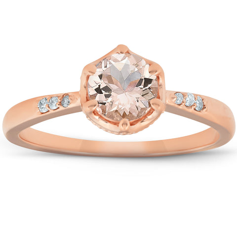 1 Ct TDW Morganite & Diamond Vintage Engagement Ring 14k Rose Gold