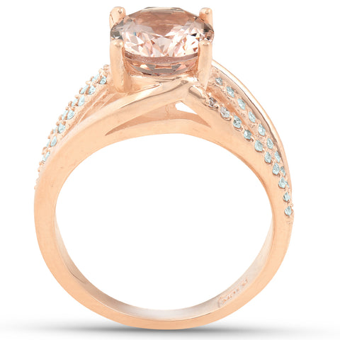 3 Ct TW Large Oval Peach Morganite & Diamond Ring 10k Rose Gold