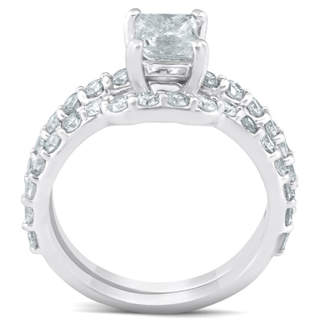 G/SI 2 Ct Princess Cut Diamond (1ct center) Engagement Ring Set Gold Enhanced