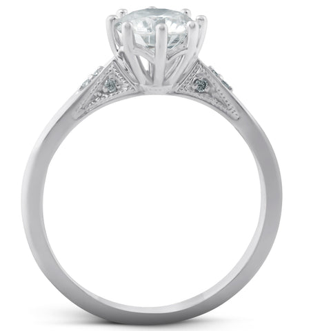 VS 1.05 Ct Diamond Engagement Ring Vintage Accent 14k White Gold 8 Prong
