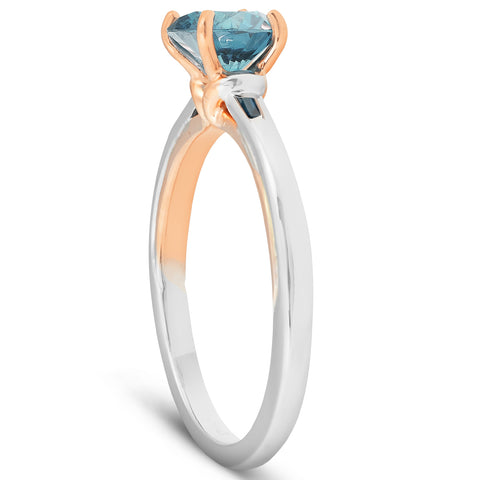 1 Ct Blue Diamond Solitaire Two Tone Engagement Ring 14k White & Rose Gold