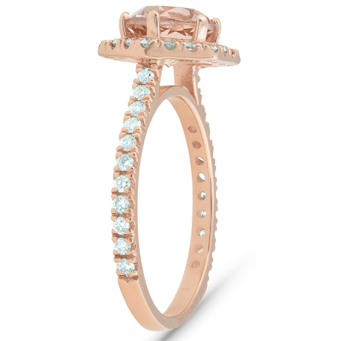 1 5/8 Ct TW Morganite Hexagonal Halo Diamond Ring 14k Rose Gold