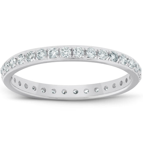 G/VS .50ct Diamond Wedding Ring Womens Eternity Band White Gold Lab Grown