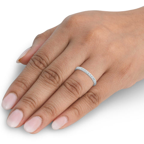 1/2ct Diamond Wedding Ring Womens Eternity Band 10k White Gold