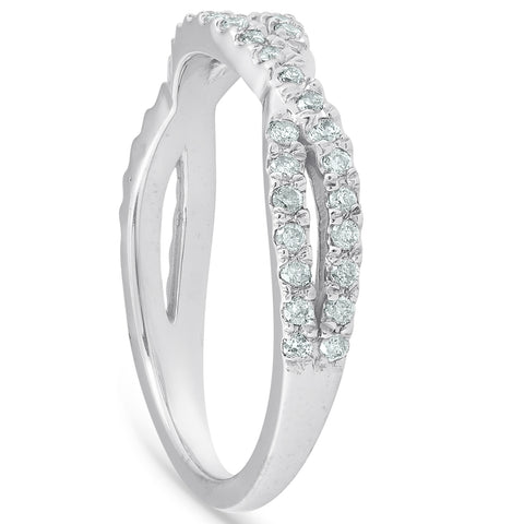 3/8ct Diamond Wedding Ring Womens Infinity Crossover Band 14k White Gold