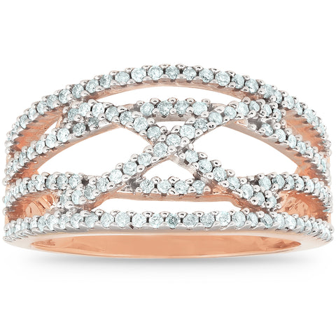 1/2 Ct Diamond Multi Row Crossover Right Hand Cocktail Ring 10k Rose Gold