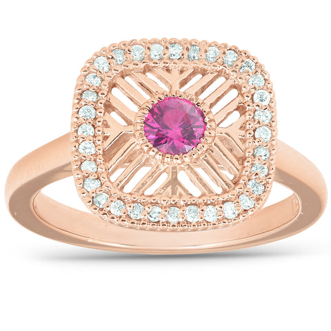 1/2 Ct Diamond & Ruby Fashion Designer Ring 14k Rose Gold