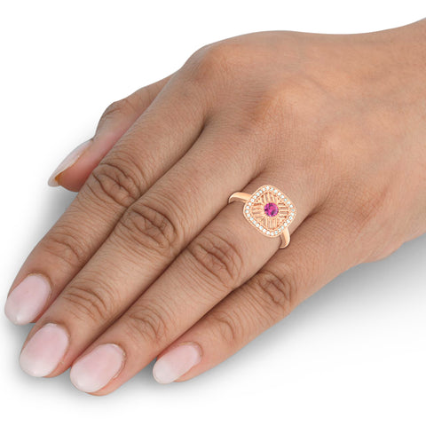 1/2 Ct Rose Gold 14k Ruby Vintage Right Hand Ring