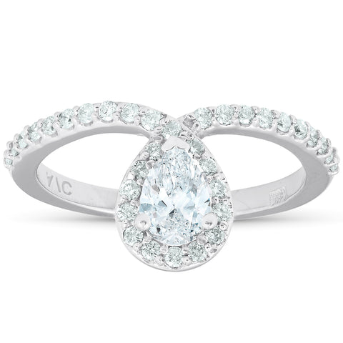 .85 Ct Pear Shape Halo Diamond Twist Engagement Ring 14k White Gold Enhanced