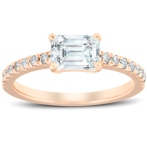 1 1/2 Ct Sideways Emerald Cut Diamond Engagement Ring 14k Rose Gold Enhanced