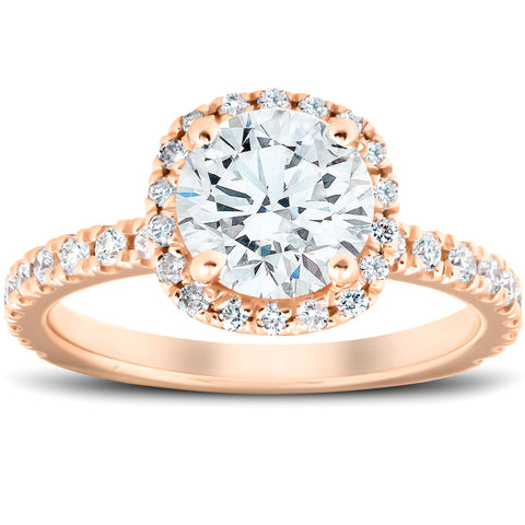 G/VS 2 Ct Moissanite & Diamond Cushion Halo Engagement Ring 14k Rose Gold