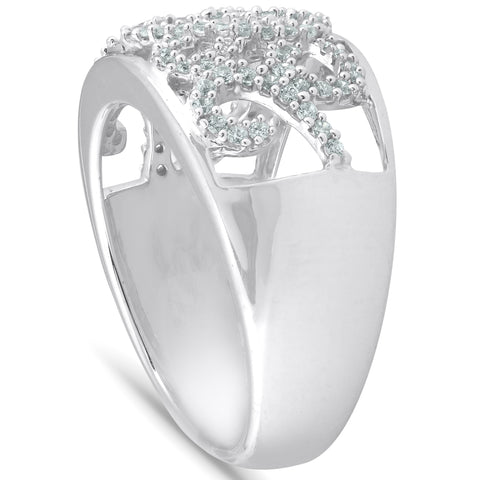 1/2 Ct Diamond Multi Row Wide Right Hand Cocktail Ring 10k White Gold