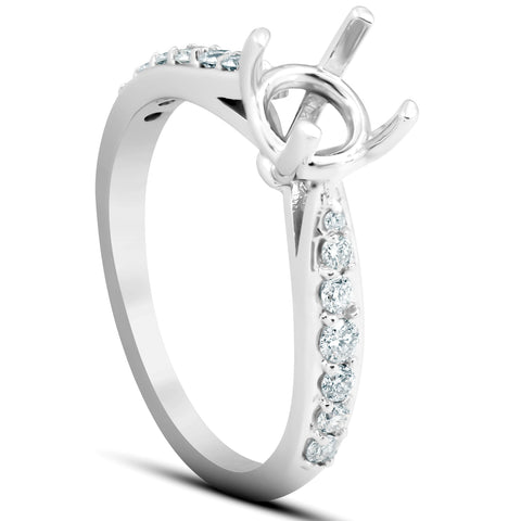 1/3 Ct Diamond Engagement Ring Semi Mount Tapered Setting 14k White Gold