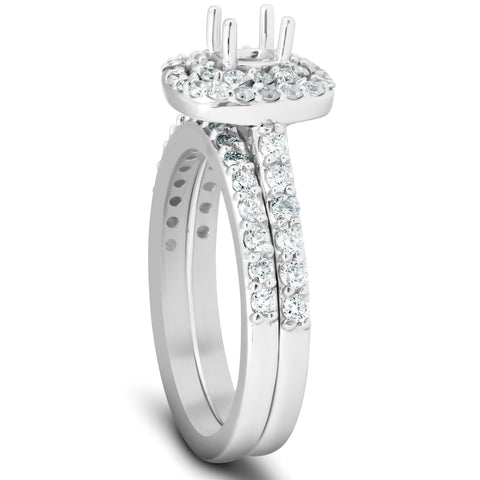 3/4Ct Double Cushion Halo Diamond Engagement Ring Setting Mount 14k White Gold
