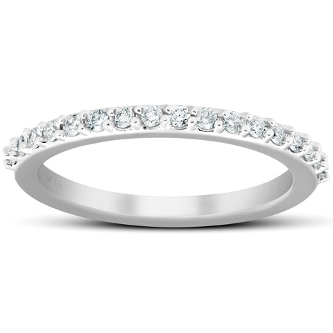 1/4Ct Diamond Ring Matching Stackable Engagement Band 14k White Gold