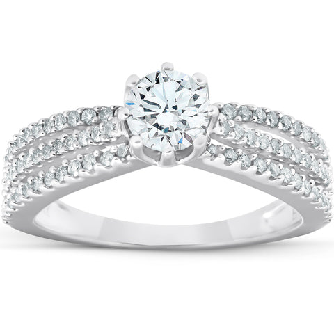 1 Ct Diamond Engagement Ring Multi Row 14k White Gold
