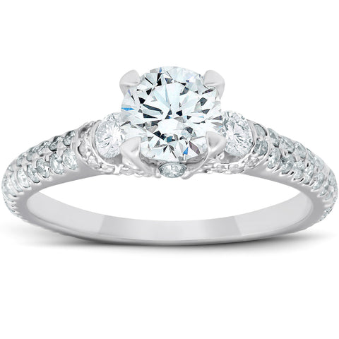 1 1/2 Ct Diamond Pave Three Stone Engagement Ring IGI Certified Size 6