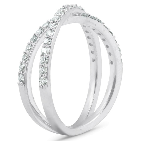 1/2Ct Diamond X Ring Wide Womens Fashion Design Multi Row Band 10k White Gold
