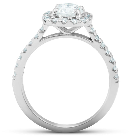 G/SI 1.75 Ct Cushion Halo Diamond Engagement Ring 14k White Gold Ehanced