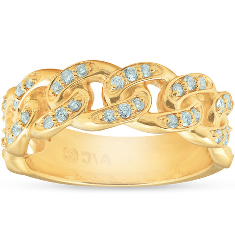 1/2 Ct Mens Heavy Weight Solid Yellow Gold Curb Chain Diamond Ring Wedding Band