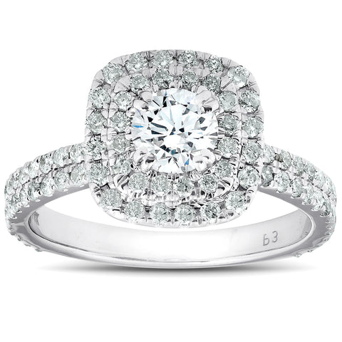 1 1/3 Ct Cushion Halo Diamond Pave Engagement Ring 14k White Gold