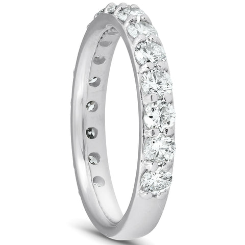 1 1/2 Ct Diamond Wedding Ring 14k White Gold Stackable Anniverary Band