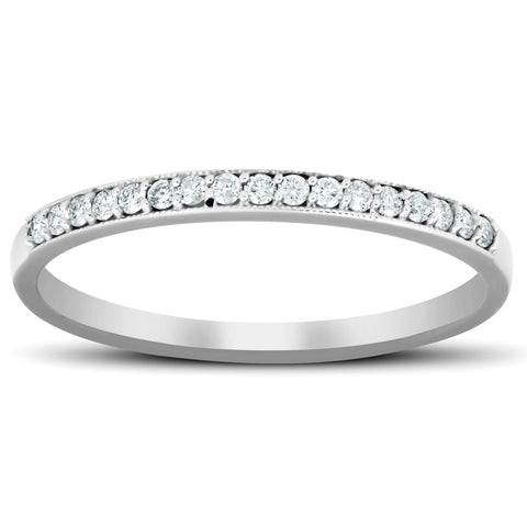 1/5 Ct Diamond Wedding Ring 14k White Gold Stackable Anniverary Band