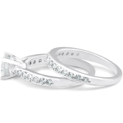 G/SI 1.75Ct Diamond Engagement Matching Wedding Ring Set 14k White Gold Enhanced