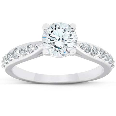 G/SI 1.50Ct Diamond Diamond Engagement Classis Ring 14k White Gold Enhanced