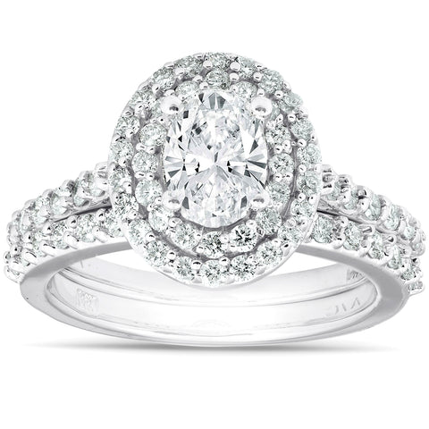 G/SI 1.86Ct Oval Diamond Double Halo Engagement Wedding Ring Set 14k White Gold