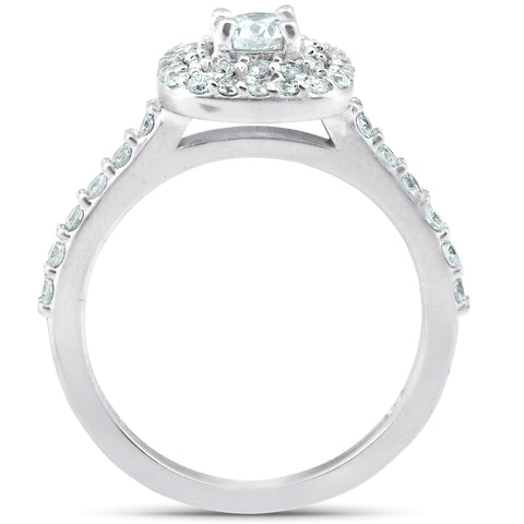 1 1/10Ct Cushion Halo Diamond Halo Engagement Wedding Ring Set 14k White Gold