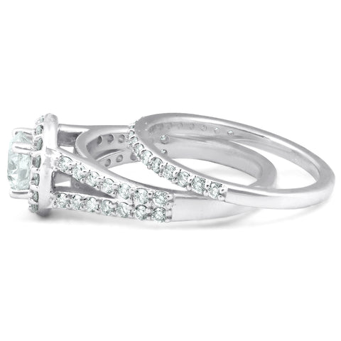GSI 2 Ct Diamond Halo Multi Row Engagement Wedding Ring 14k White Gold Enhanced
