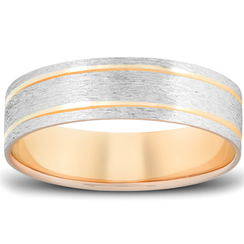 Mens 10k Yellow Gold 6mm Brushed Two Tone Ring Wedding Anniversary Band
