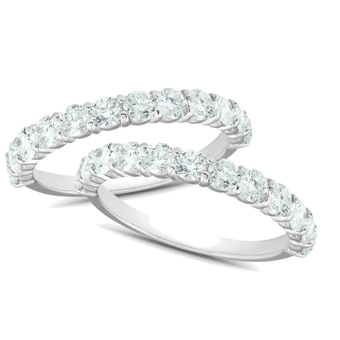 1 3/4Ct Diamond Weedding Ring Set 14k White Gold Stackable Engagement Bands