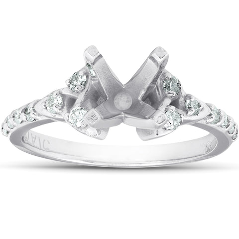 1/4Ct Diamond Celtic Engagement Ring Setting 14k White Gold Semi Mount