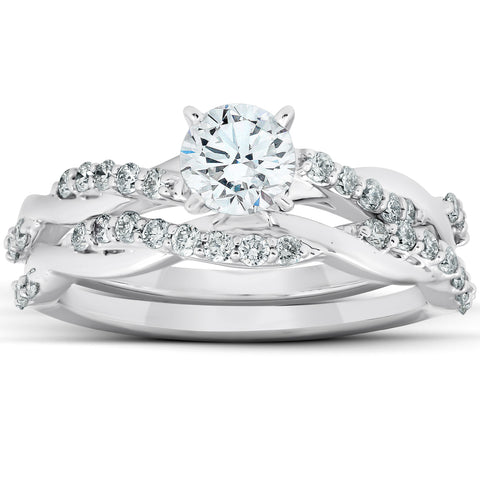 3/4Ct Diamond Infinity Engagement Ring Set 14k White Gold Maching Wedding Band