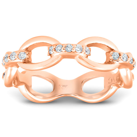 1/4Ct Diamond Link Fashion Ring Womens 14k Rose Gold Anniversary Band
