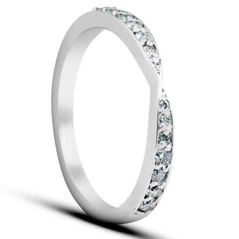 1/4Ct Diamond Stackable Tapered V Shape Womens Wedding Ring 10k White Gold