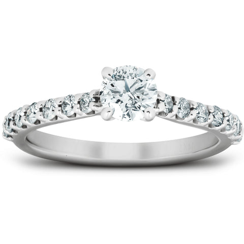 VS 1 Ct TDW Round Lab Grown Diamond Classic Engagement Ring 14k White Gold