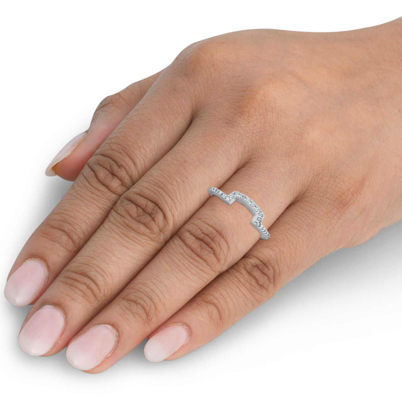 1/4Ct Diamond Curved Contour Guard Band Womens Wedding Ring 14k White Gold