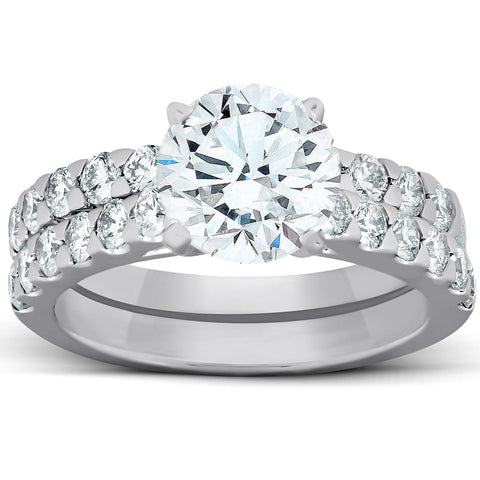 3 Ct Diamond Engagement Ring 14k White Gold Enhanced