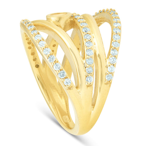 3/4 Ct Diamond Multi Row Diamond Ring 10k Yellow Gold Womens Right Hand
