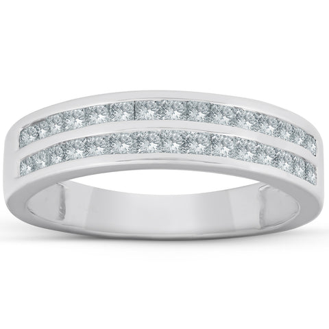 3/4 Ct Diamond Princess Cut Double Channel Wedding Ring 10k White Gold
