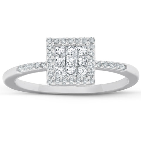 3/8 Ct Princess Cut Diamond Halo Engagement Ring 10k White Gold