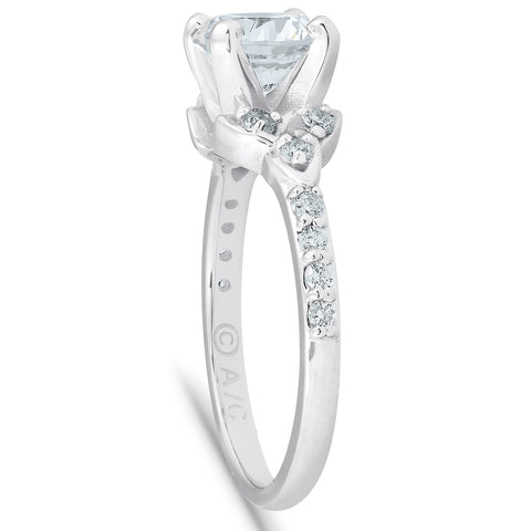 1 Ct Diamond Engagement Ring Celtic Triangle 14k White Gold