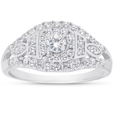 1 Ct Diamond Halo Multi Row Engagement Ring 10k White Gold